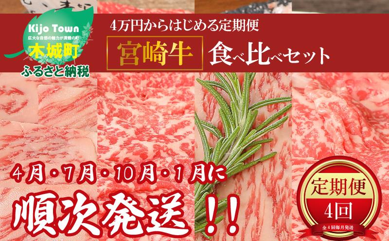 K01_1102 <4万円からはじめる定期便 宮崎牛食べ比べセット(4回コース・満足)>