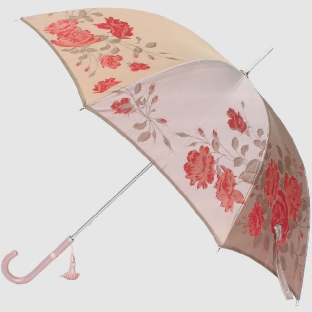 【槙田商店】晴雨兼用長傘 絵おり 薔薇(ばら)ベージュ