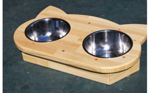 020C063 手作り木製 2椀付きペット用食器・水飲み