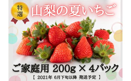 【湧水のミネラルたっぷり!山梨の夏いちご】ご家庭用 200g× 4パック 2021年6月下旬以降発送予定