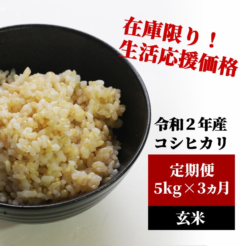 <令和2年産>K13定期便 あわくら源流米 コシヒカリ 玄米5kg×3