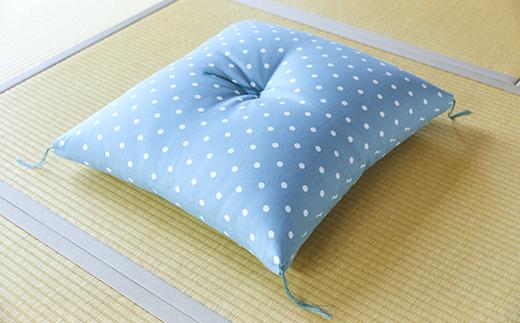 天然繊維 手作り 木綿わた入り 座布団(水色ドット柄)