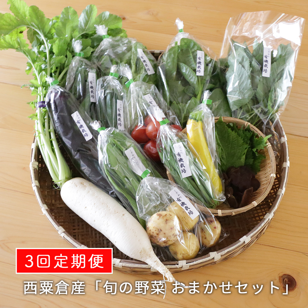 F1定期便【7月からの発送】西粟倉産 「旬の野菜 おまかせセット」×3