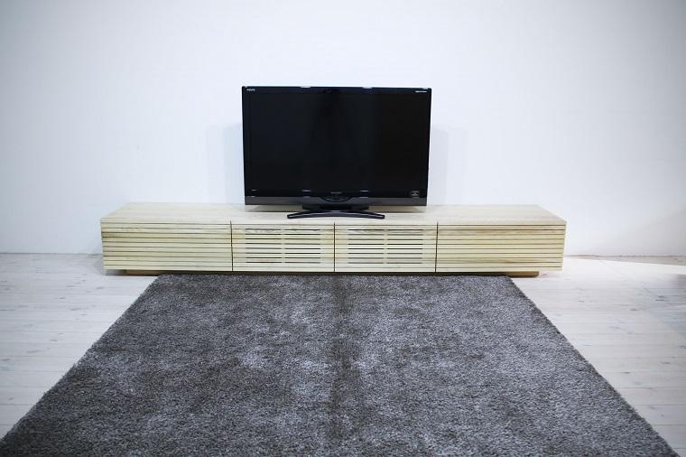 EL138_ 風雅  無垢材テレビボード  テレビ台  W2700【開梱設置付き】ホワイトアッシュ  スリット[SK138]