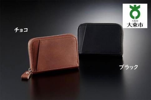 上質な質感「栃木レザーラウンドファスナーポケット財布」ブラック
