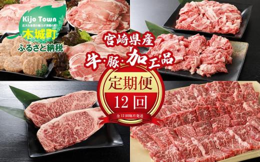 K16_0031_01 <12か月定期便 宮崎県産 牛・豚・加工品定期便!>