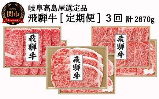【頒布会】<飛騨牛>定期便3回 計2870g 【岐阜県高島屋選定品】 牛肉59E0940