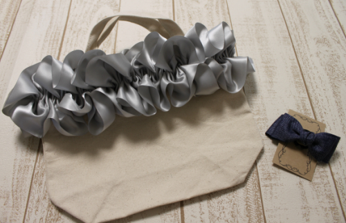 15-06 fluffy bag(グレー)&ヘアゴム(1個)セット