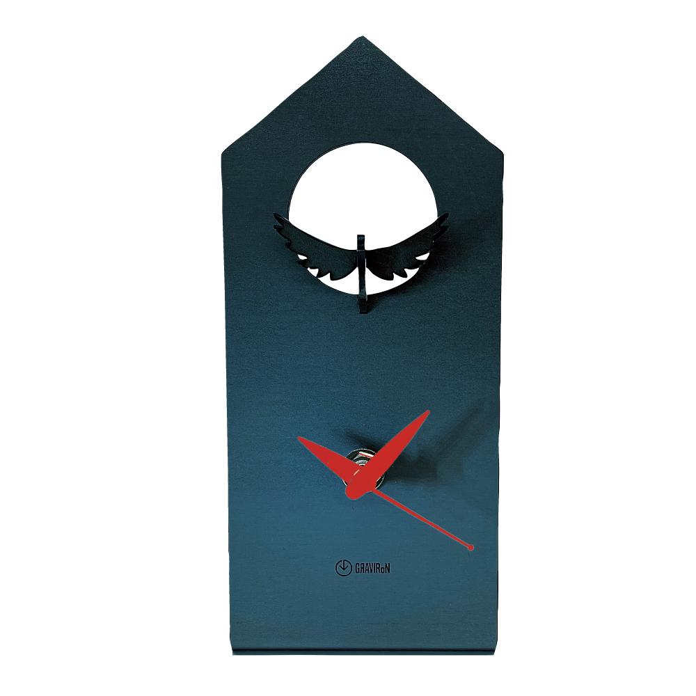 GRAVIRoN Bird Clock ハト 黒皮鉄(置き時計)