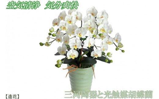 空気清浄効果があり、贈り物にも喜ばれます。  綺麗で丈夫な三河陶器で贈る 光触媒胡蝶蘭(モエギの陶器×白色の花) H100-002