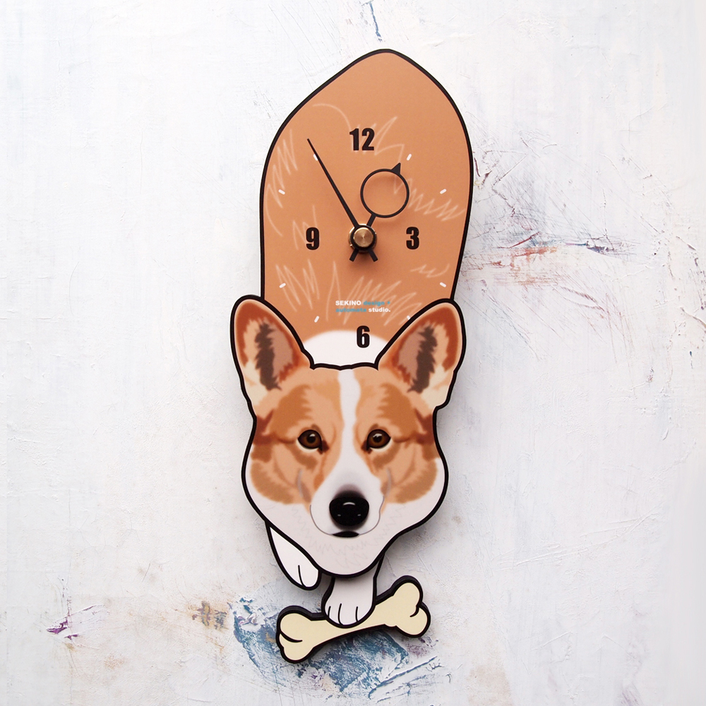 <D-88 コーギー-犬の振り子時計>