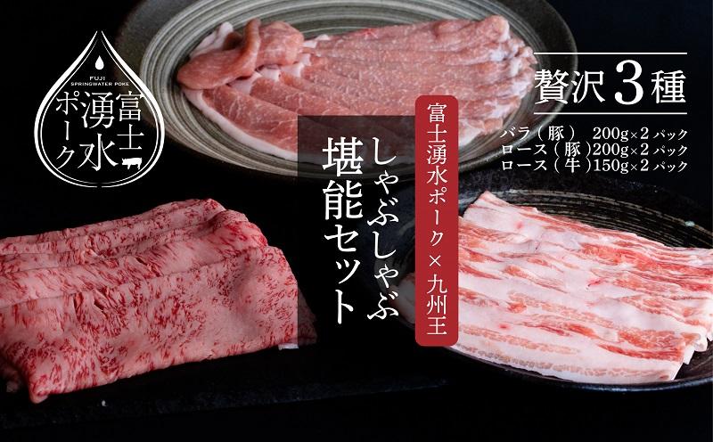 富士湧水ポーク・九州王(黒毛和牛) しゃぶしゃぶ堪能セット