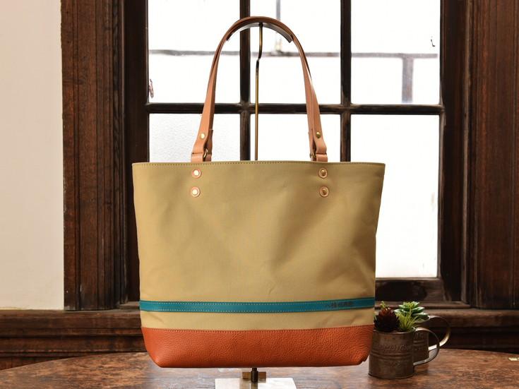 ハンドメイド 八幡帆布鞄トートバッグ・名入れ可能 Lサイズ ライトブラウン【CC03SM】