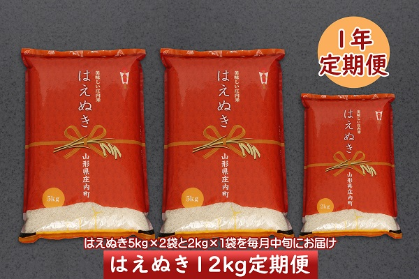 <2月開始>庄内米1年定期便!はえぬき12kg(入金期限:2021.1.25)
