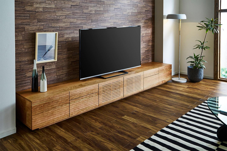 EL144_  風雅  無垢材ハイタイプテレビボード  テレビ台  W3000【開梱設置付き】ブラックチェリー  スリット[SK144]