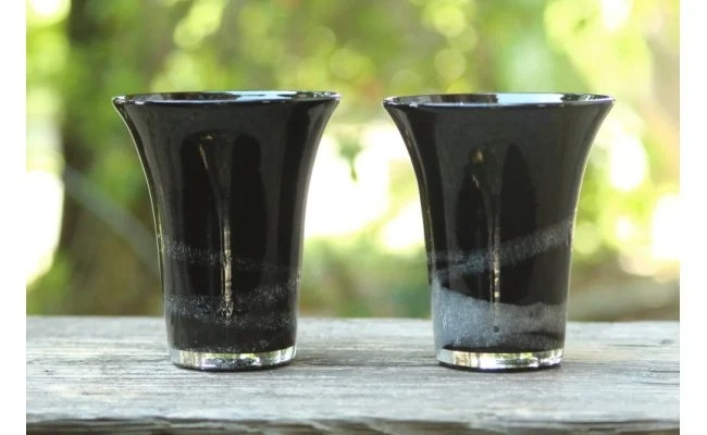 【琉球ガラス】一口ビアグラス泡ライン(黒)2個セット