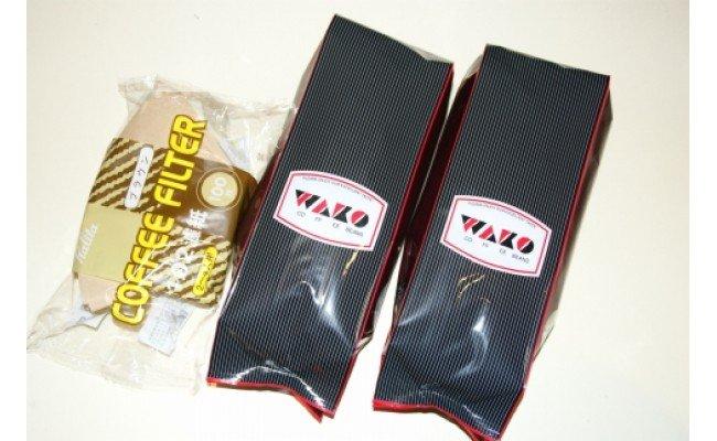 ZD6081_自家焙煎コーヒー豆(ストロング・ヨーロピアン)各300gとカリタ102コーヒーフイルター100枚セット