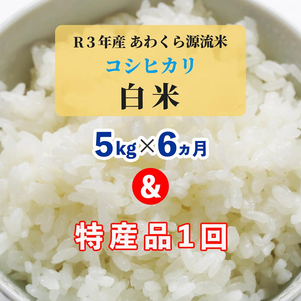 W92<令和3年産 新米定期便>あわくら源流米 コシヒカリ白米5kg×6回+お楽しみ特産品1回