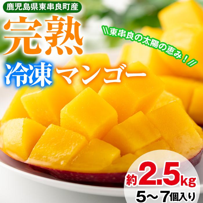 【32845】《数量限定》鹿児島県産!南国の恵み!まるごと冷凍完熟マンゴー約2.5kg(5~7個)【甘宮】