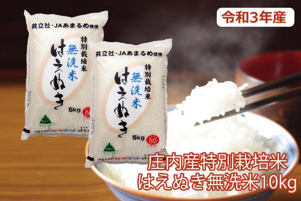 令和3年産米 特別栽培米はえぬき無洗米10kg