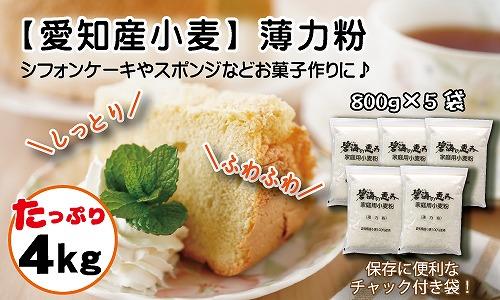 【愛知県産小麦100%】碧海の恵み 薄力粉 菓子用 800g×5袋(計4kg) H008-051