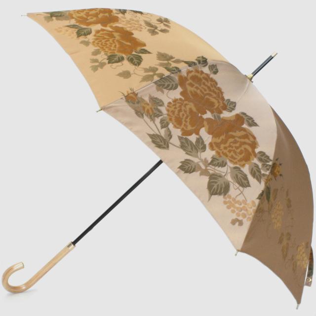 【槙田商店】晴雨兼用長傘 絵おり バラとぶどう ベージュ