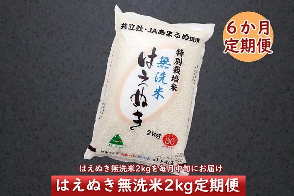 <2月開始>庄内米6か月定期便!特別栽培米はえぬき無洗米2kg(入金期限:2021.1.25)
