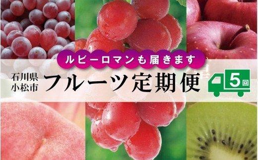 石川・小松のフルーツを満喫セット 100023. 【ルビーロマンも届きます】フルーツ定期便 全5回