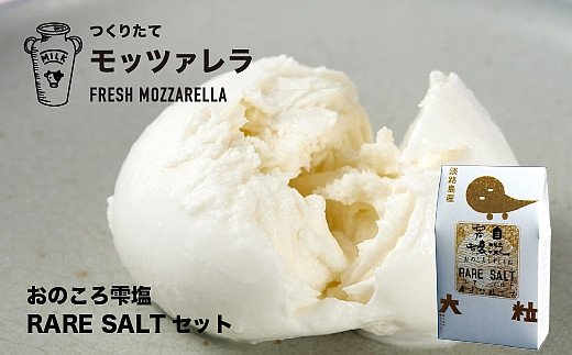 HH10:洲本市 川上牧場の朝しぼり生乳で作ったフレッシュ モッツァレラチーズ 100g×2個と洲本市の海水から作ったレアソルトのセット