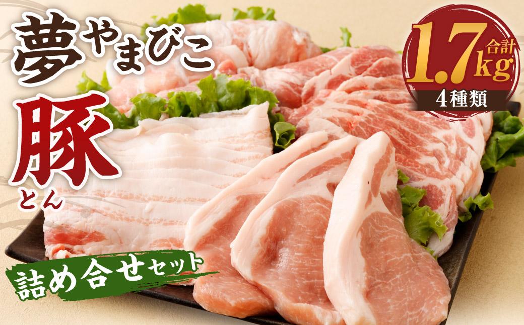 夢やまびこ豚 詰め合せ セット 1.7kg 4種類 (ロースかつ・肩ローススライス・バラスライス・モモスライス)