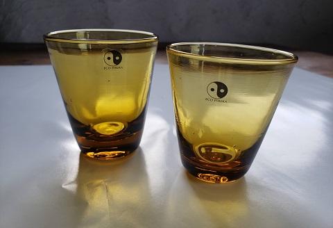 1106.川湯温泉ユノハナガラス ショートグラス2個
