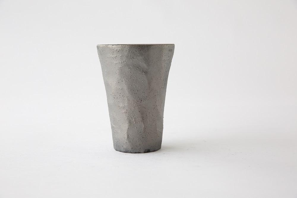 炭を纏った陶器「炭陶」 陶器製広口タンブラー【キコリの炭】