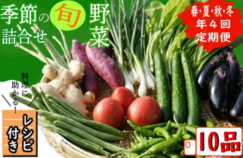 RK084【年4回お届け】レシピ付き! 年4回春夏秋冬の旬野菜10品お届け定期便