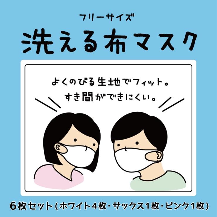 4-0069洗える布マスク フリーサイズ6枚セット