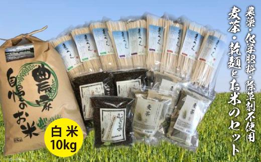 No.024 加工品(麦茶・乾麺)と白米10kgのセット / お米 精米 彩のかがやき むぎ茶 うどん 埼玉県 特産品