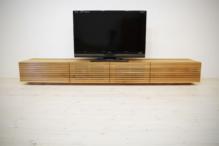 EL129_ 風雅  無垢材テレビボード  テレビ台  W2400【開梱設置付き】ホワイトオーク  スリット[SK129]