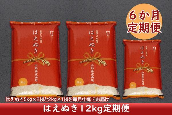 <1月開始>庄内米6か月定期便!はえぬき12kg(入金期限:2020.12.25)