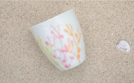 沖縄の海と縁起の珊瑚のタンブラー純白(1点)やちむん