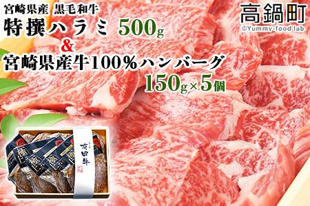 <特撰ハラミ+宮崎県産牛100%ハンバーグ150g×5個>2021年3月末迄に順次出荷【c744_tf】
