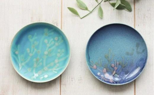 沖縄の海を『ぎゅっ』と閉じ込めた珊瑚プレート 取り皿 2枚