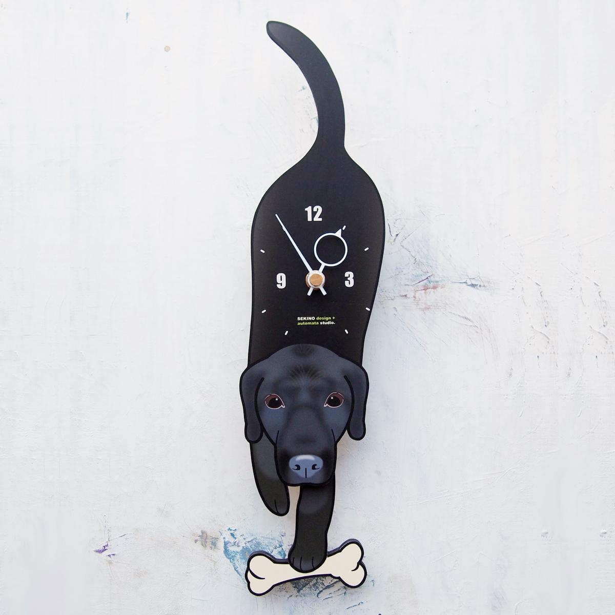 <D-183 黒ラブラドール-犬の振り子時計>