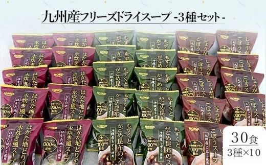 【A-496】九州産フリーズドライスープ3種セット(計30食入)