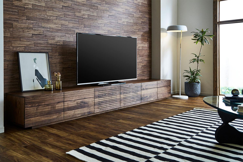 EL143_ 風雅  無垢材ハイタイプテレビボード  テレビ台  W3000【開梱設置付き】ウォールナット  スリット[SK143]