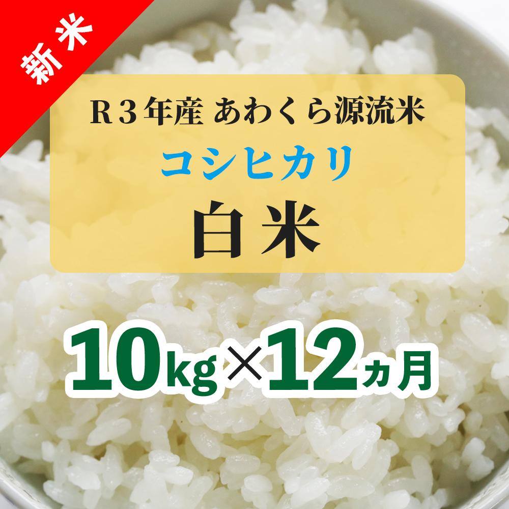 W85<令和3年産 新米定期便> あわくら源流米 コシヒカリ 白米10kg×12