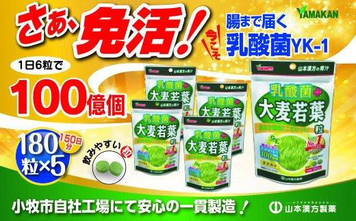 【乳酸菌プラス】山本漢方の大麦若葉粒(30日分×5袋)[027Y06]