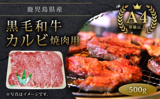 鹿児島県産A4等級以上黒毛和牛カルビ焼肉用500g