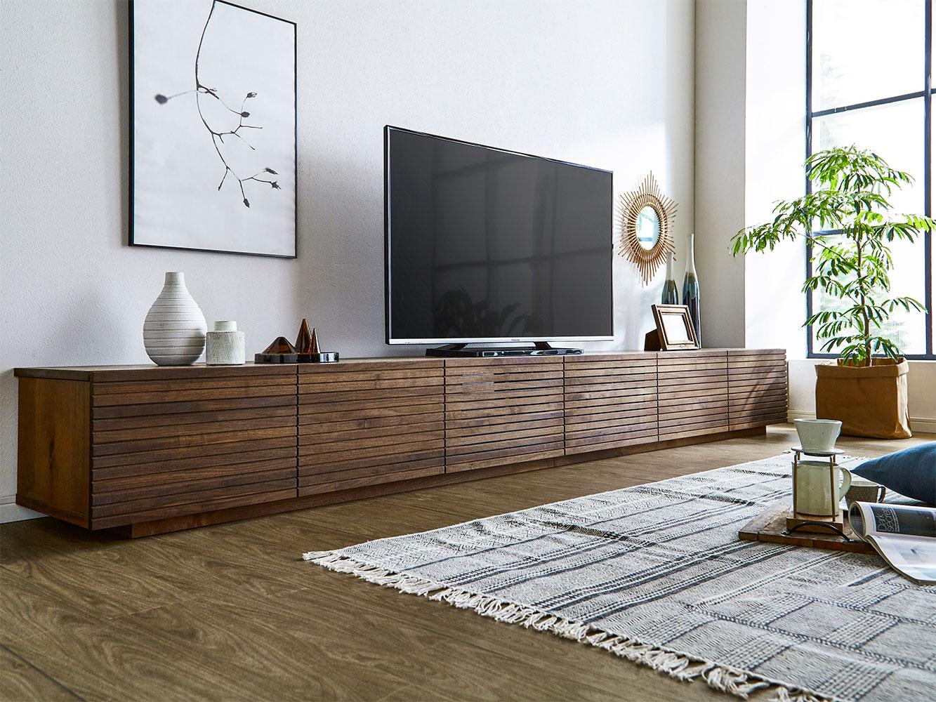 EL141_ 風雅  無垢材テレビボード  テレビ台  W3000【開梱設置付き】ウォールナット  スリット[SK141]