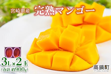 <宮崎県産 完熟マンゴー 3L×2玉(合計 約900g)> 2021年5月中旬から7月中旬迄に順次出荷【c792_dm】