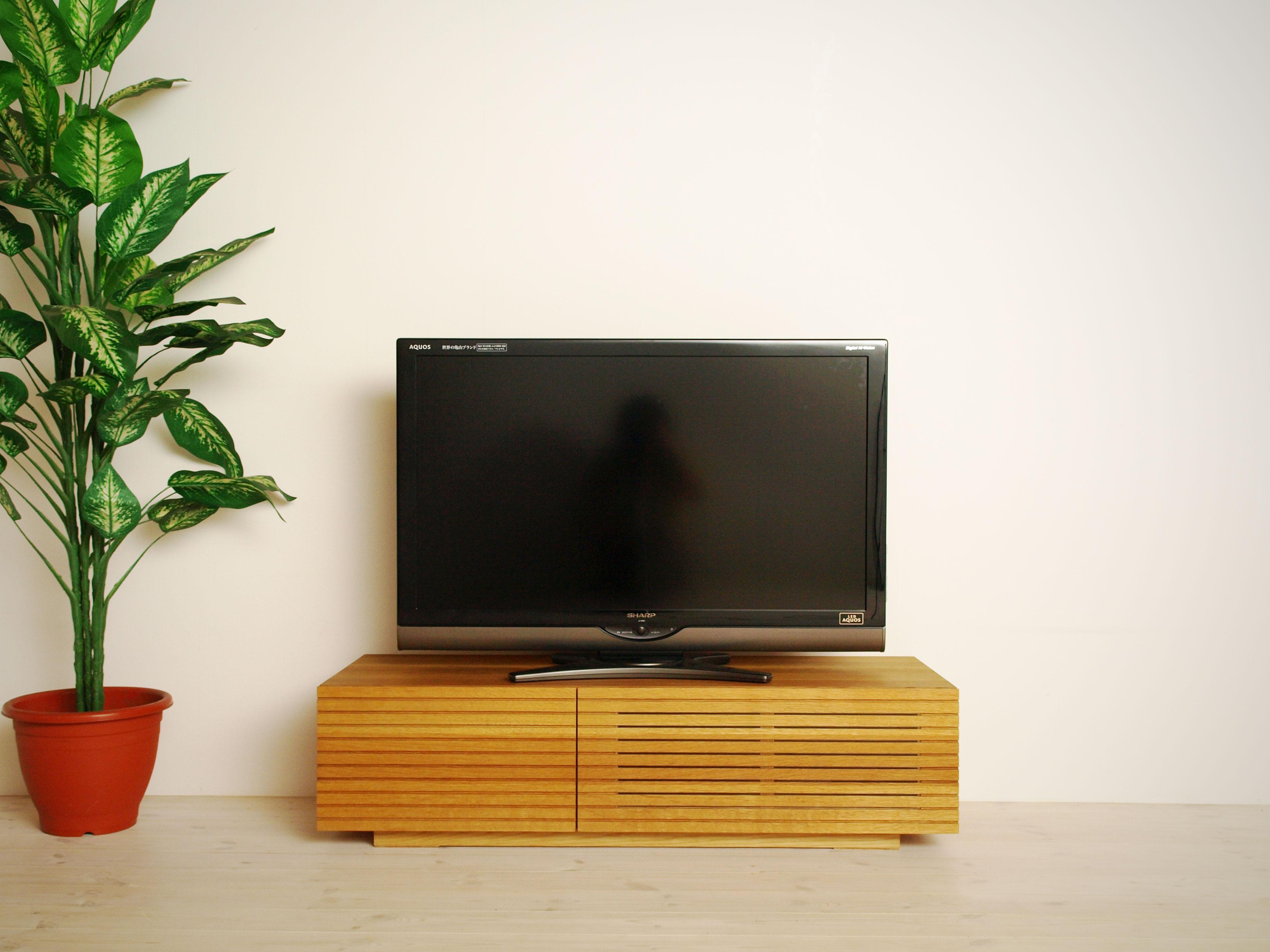 EL104_ 風雅  無垢材テレビボード  テレビ台  W1200 【開梱設置付き】ホワイトオーク  スリット[SK104]