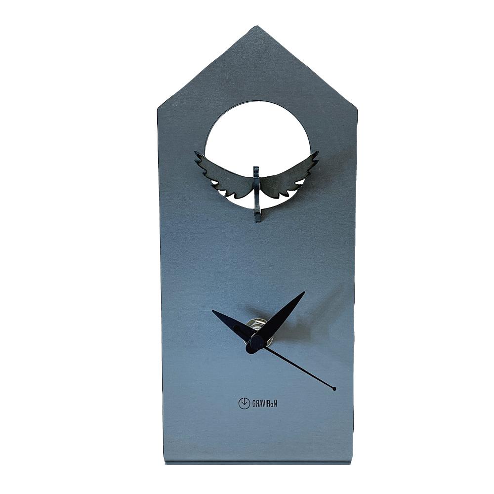 GRAVIRoN Bird Clock ハト 酸洗鉄(置き時計)